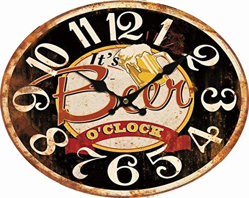 BHP Reloj De Pared b991757Esfera Árabe Vintage Cerveza Tiempo Ovalado Salón Oficina Cocina Taberna Pared Reloj analógico Deko Parrilla de Hierro rústico Look it 's Beer o' Clock 49,00cm 12Horas