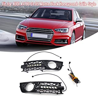 VISLONE Car Front Hood Kidney Grille Honeycomb with DRL Fog Light Grilles Daytime LED Strip Turn Signal L & R Mesh Fit for Audi A4 B6 01-05 Matte Black 1 pair