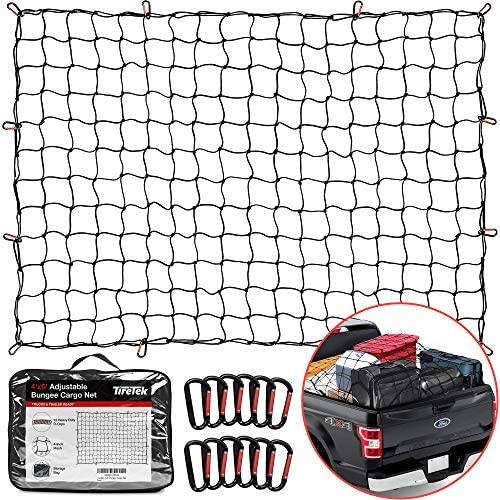 TireTek Cargo Net for Pickup Truck Bed 4 x 6 Stretches to 8 x 12 Heavy Duty Small 4 x4 Latex product image