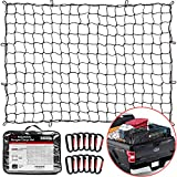 """TireTek Bungee Cargo Net for Pickup Truck Bed- 4' x 6' Stretches to 8' x 12'- Heavy Duty Small 4""""x4"""" Latex Bungee Net Mesh with 12 Metal Carabiners - Compatible with Ford, Dodge RAM, Chevy, Toyota"""
