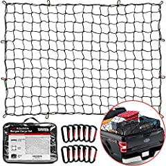 """HEAVY DUTY SUPERIOR DURABILITY – Extra thick 5mm LATEX CORE bungee webbing, 4'x6' bungee cargo net stretches to 8'x12' IDEAL FOR SMALL & LARGE CARGO ITEMS – Designed with tight 4"""" x 4"""" mesh netting, the truck bed net keeps small items from falling ou..."""