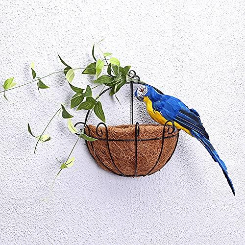 KNMY Pájaro artificial para decoración de pared, diseño de pájaros, plumas y plumas, color azul