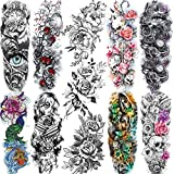 11 Sheets NEZAR Large Vine Peony Flower Rose Full Arm Temporary Tattoos For Women Realistic Skull Skeleton Fake Temporary Tattoo Sleeves Stickers Waterproof Leg Makeup Floral Blossom Tatoos Paper Eye