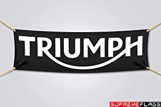 Triumph Flag Banner Motorcycles Man Cave Car Garage Shop Black (18x58 in)