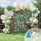 Unisun - Kit de arco de guirnalda globos color verde oliva, 128 unidades retro verde salvia blanco dorado cromado para fiestas de cumpleaños bodas niños niñas baby shower jungla safari decoración