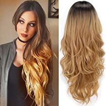 MISSWIG Long Wavy Wig for Black Women Synthetic 2 Tone Black to Blonde Natural Wavy Middle Part Daily Wigs Heat Resistant Fiber