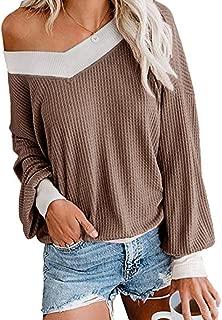 Fessceruna Womens Color Block Off Shoulder Waffle Knit Sweater V Neck Bat Wing Long Sleeve Pullover Top