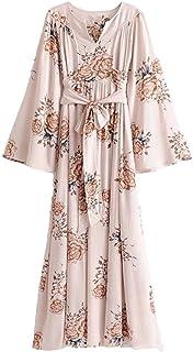 0c817f388e23a2 Milumia Women's Self Tie Floral Kimono Maxi Dress V Neck High Waist Pleated  Summer Dress