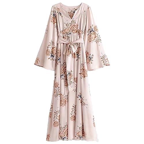 27acf3771a31 Milumia Women s Self Tie Floral Kimono Maxi Dress V Neck High Waist Pleated  Summer Dress