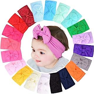 20pcs Baby Girls Nylon Headbands Turban Hair Bows Hair Band Elastic Hair Accessories for Kids Toddlers Infants Newborn