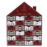 Image of Valery Madelyn 35cm Traditioneller Adventskalender zum Befüllen in Rot und Grau, mit Typischen Weihnachtlichen Mustern und 24 Kästchen aus Papier