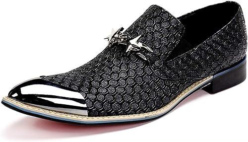 ZPL zapatos hombres Moda Zapaños Cuero Oxford Mocasines Vaquero Boda Vestido Formal Puntiagudo negro oro Talla 37-46 EU