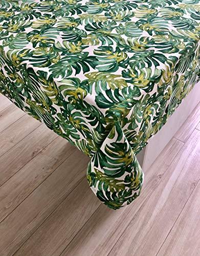 1KDreams Tovaglia Foglie verdi. Tema Foresta foglie larghe sfondo bianco. Tovaglia da tavola fantasia esotica piante rampicanti. (130x240 cm)