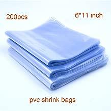 200pcs 6x11'' Shrink Bags, Soeland Shrink Wrap Bags Heat Seal PVC Film 100 Ga for Soaps, Bath Bombs, Bottles, Crafts, Shoes & DIY(Best Shrink Rate)