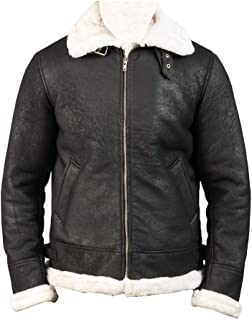 edgey Snuff Lambskin Black Shearling Real Leather Jacket for Men