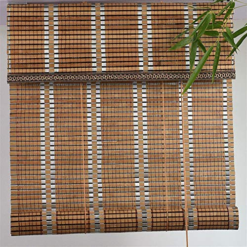 LJA Outdoor Carbonized Bamboo Roller Blind Greenhouse Shutters, Sunscreen UV Protection, Indoor Outdoor Patio Gazebo…