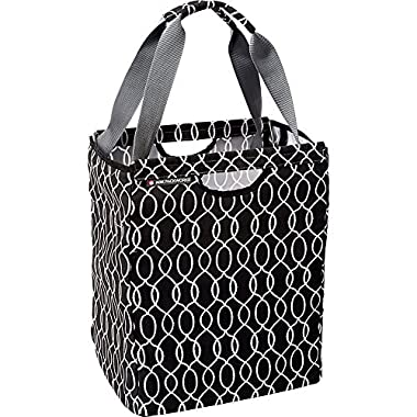 ADK Packbasket (Black Ogee) Multifunctional Durable Structured Tote / Reusable Shopping Bag That Folds Flat / Holds 30 lbs.