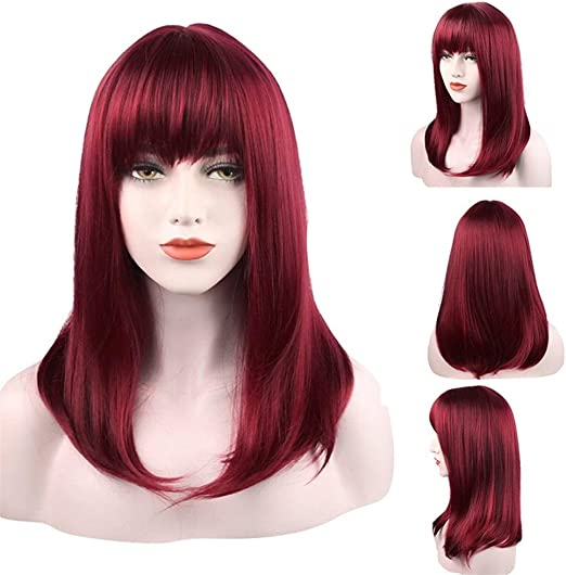 Juego de pelucas para el pelo para mujer, color rojo vino ...