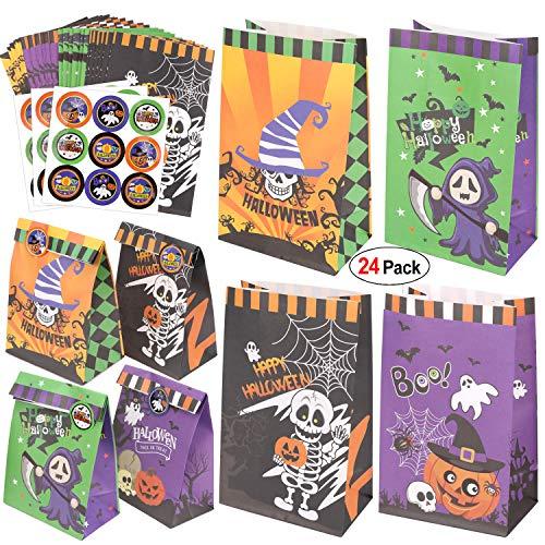 HOWAF Halloween Papiertüten, 24 Stück Halloween Kleine Geschenktüten mit Aufkleber, Halloween Partytüten Candy Tüten zum Verpacken von Geschenken, Giveaways, Kindergeburtstag Mitgebsel