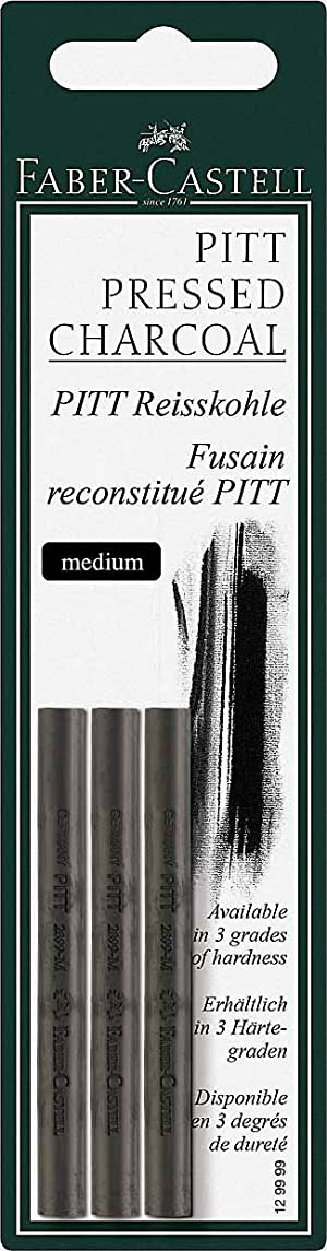 Faber Castell Pack of 3 Compressed Pitt Charcoal Sticks, Intensive Black, Medium