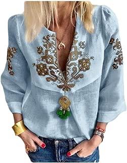 Macondoo Womens Slim 3/4 Sleeve Tee Bohemian Print V-Neck T-Shirts