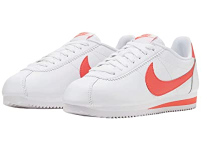 Nike Classic Cortez Leather (White/Magic Ember) Women
