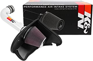 K&N Cold Air Intake Kit with Washable Air Filter: 2016-2019 Chevy Camaro, 3.6L V6, Polished Metal Finish with Red Oiled Filter, 69-4535TP