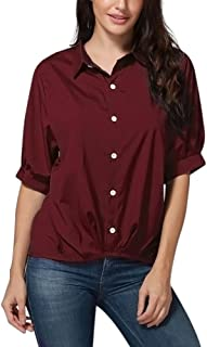 Cinhent Blouse, Women Solid Button Half Sleeve Tops T Shirt