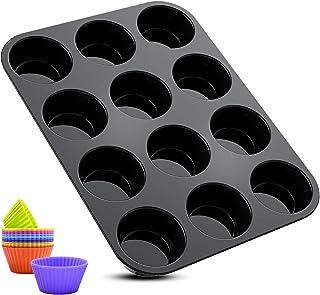 Moule a muffins en silicone pour 12 muffins avec 12 moules cupcakes pour cupcakes, muffins - Noir