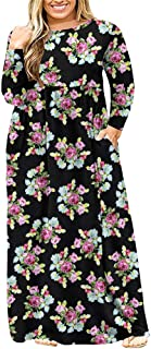 Womens L-4XL Long Sleeve Casual Plus Size Maxi Dresses...
