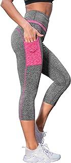 DJT Women's High Waist Running Workout Capris Leggings for Yoga with Pockets