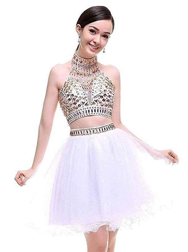 Two Piece Homecoming Dresses Short Halter Beaded Cocktail Prom Gowns for Junior 2019