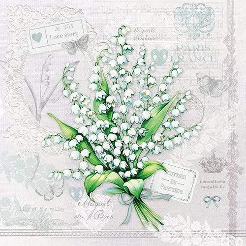 20 Servietten Bund an Maiglöckchen als Tischdeko mit Blumen für den Frühling 33x33cm