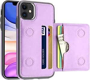 LakiBeibi Case for iPhone 11 with Card Holders, Dual Layer Lightweight Slim Leather iPhone 11 Wallet Case Flip Folio Magnetic Lock Protective Case for Apple iPhone 11 6.1 Inch (2019), Purple
