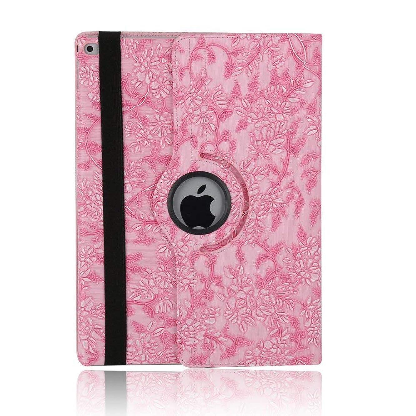 仕事に行く怠フィラデルフィアelecfan iPad用ケース 360度回転型スタンド ポリウレタンレザー製 花柄 保護用フリップフォリオカバー iPad Air 2 ピンク EL-PTW-IPAD6-P