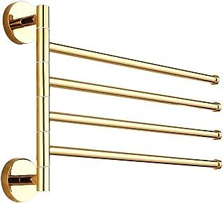 ライデンTM 4-barsタオルバーゴールド真鍮アクティブFoldingバスタオルホルダー棚タオルラック壁マウントされ、ゴールド仕上げ