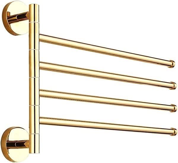 Leyden TM 4 Bars Towel Bar Gold Brass Active Folding Bath Towel Holder Shelf Wall Mounted Towel Rack Gold Finish