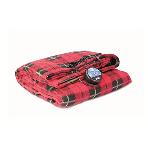Calmson Electric Car Blanket- Heated 12 Volt Fleece Travel Throw for Car and RV Great for Cold Weather Tailgating and Emergency Kits