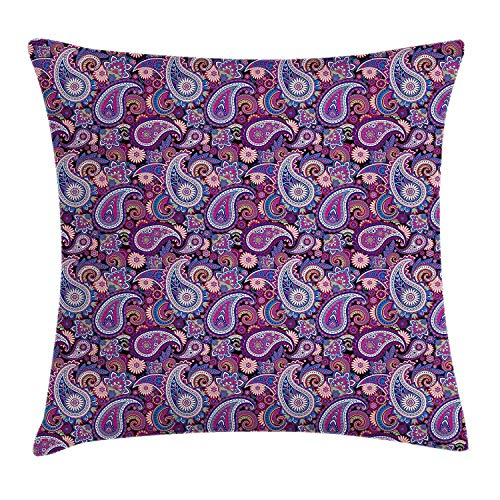 Classic Asian Patterned Design Backgrounded with Flowers and Leaves Image, Square Accent Pillow Case, 18 X 18 Inches, Multi Colored