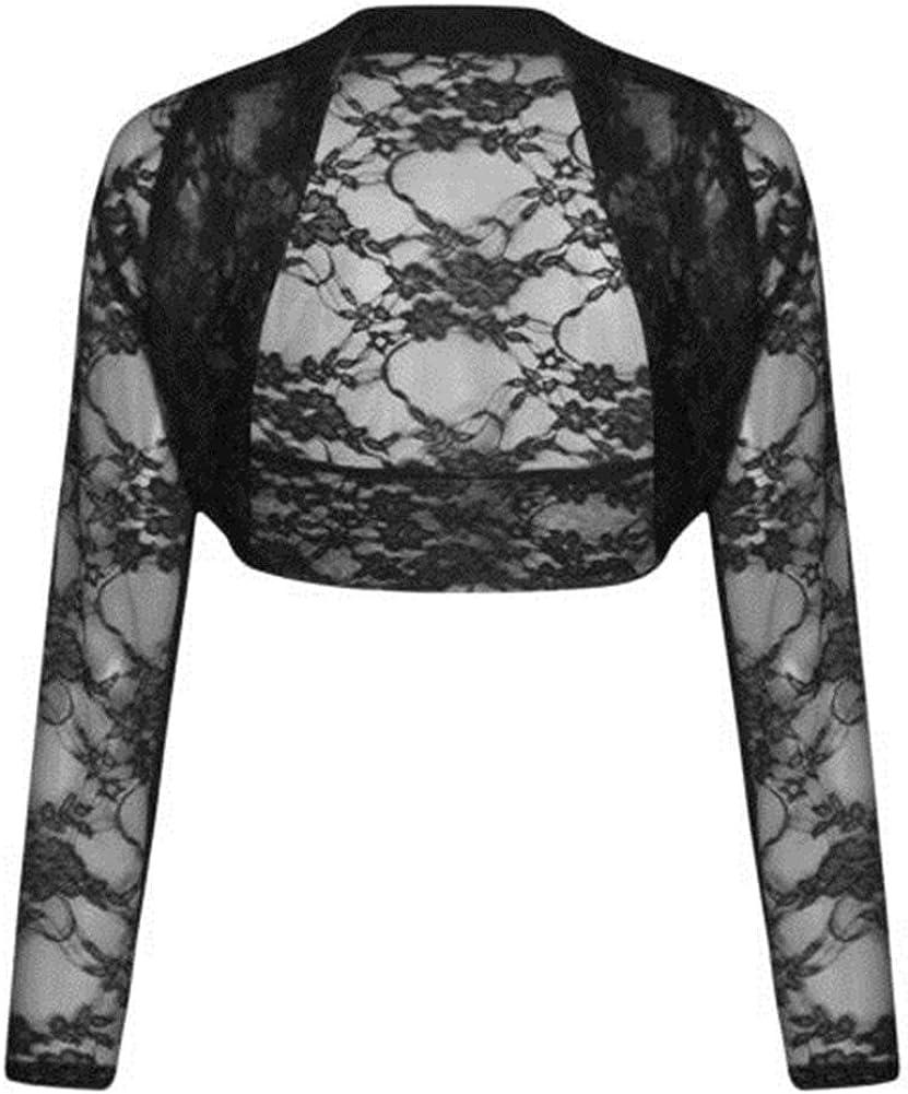 COMMENCER Womens Floral Lace Shrug Bolero Cardigan Crop Top
