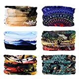 Oureamod Wide Headbands for Men and Women Athletic Moisture Wicking Headwear for Sports,Workout,Yoga Multi Function (Landscape-6pcs)