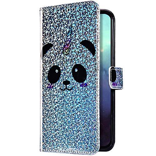Uposao Kompatibel mit Samsung Galaxy A60 / M40 Hülle Handyhülle Glänzend Bling Glitzer Strass Klapphülle Lederhülle Flip Case Leder Tasche Schutzhülle Kartenfach Magnetisch Ständer,Panda