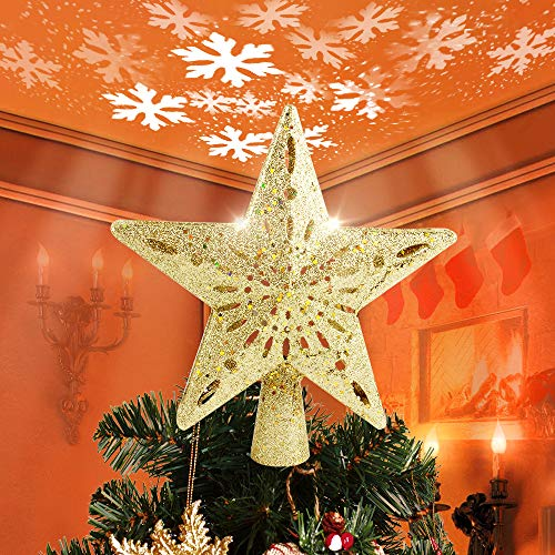 HueLiv Christmas Decorations, Christmas Star Tree Topper with Lighted White Rotating LED Snowflake Projector, 3D Glitter Hollow Night Light Topper for Xmas Tree Decoration, Best Gift for Kids - Gold