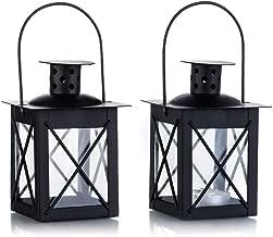 Vintage Black Metal Mini Decorative Candle Lanterns Tealight Candle Holder & Led Tea Light Candleholder Decoration for Birthday Parties Wedding Centerpiece Relaxing Spa Setting (Black, 2 Pcs)