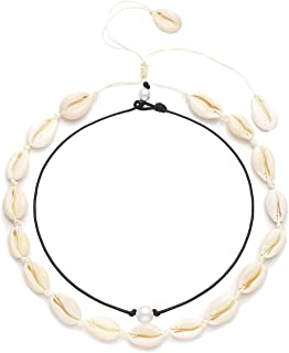 BSJELL Women's Natural Shell Necklace Choker Set Handmade Pearls Cowries Pendant Necklace Waikiki Beach Choker Adjustable For Girls Ladies