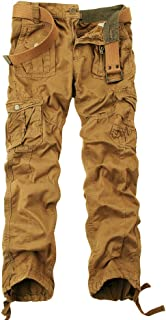 Mesinsefra Men`s Cotton Casual Cargo Pants Military Army Tactical Combat Work Trousers with 8 Pockets