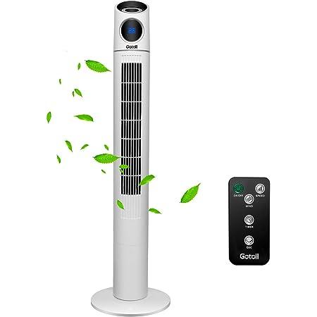 Gotoll Ventilateur Tour Télécommande 110cm Ventilateur Colonne Oscillation Ventilateur Sur Pied Silencieux, Affichage LED & Minuterie 15H - Blanc