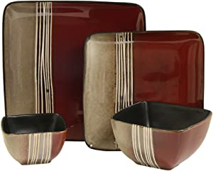 Elama Downtown Square Stoneware Loft Collection Dinnerware Dish Set, 16 Piece, Red and Tan with White Accents