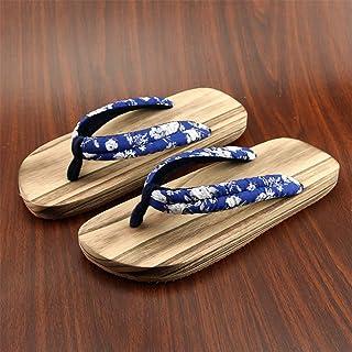 Moter zapatos de madera de estilo japonés sandalias de hombre, zapatos planos tradicionales, suela ancha azul patrón antid...