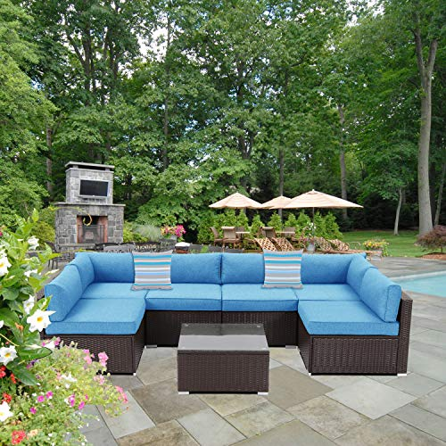 SUNBURY Outdoor Sectional 7-Piece Espresso Brown Wicker Sofa Patio Furniture Set w 2 Stripe Pillows, Denim Blue Cushions, Tempered Glass Table, Weatherproof Cover for Backyard